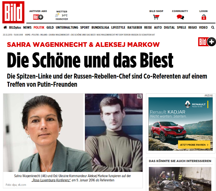 Screenshot: Bild.de / Fotos: dpa, vk.com